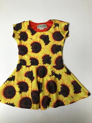 YELLOW SUNFLOWER SS SKATER DRESS