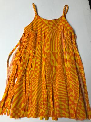 ORANGE RACER CHECK CUT FRINGE DRESS