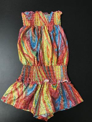 SMOCKED ROMPER RAINBOW SPARKLE