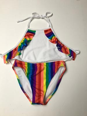 WHITE/ RAINBOW STRIPE HALTERKINI