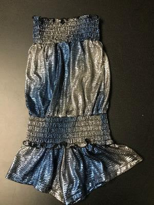 SMOCKED ROMPER BLUE/SILVER OMBRE