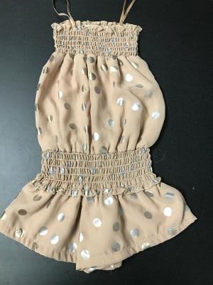 SMOCKED ROMPER CHAMPAGNE GOLD SILVER DOT