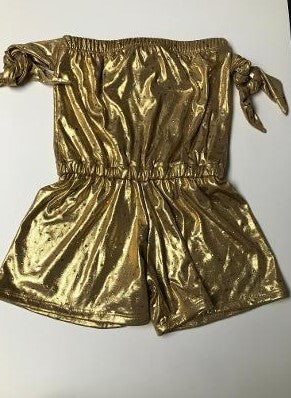 BEACH ROMPER GOLD SPARKLE /TIES