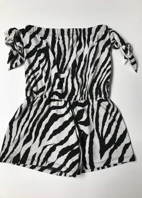 BEACH ROMPER ZEBRA TIES