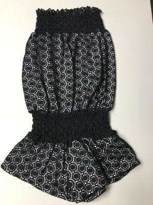 SMOCKED ROMPER BLACK CROCHET