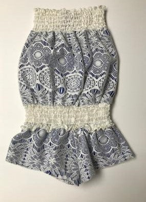 SMOCKED ROMPER IVORY LACE