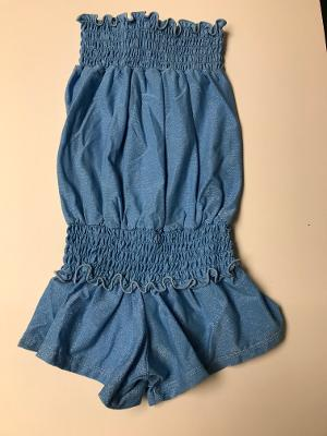 SMOCKED ROMPER BLUE ICE SHIMMER