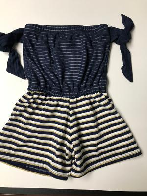 BEACH ROMPER NAVY STRIPE TIES