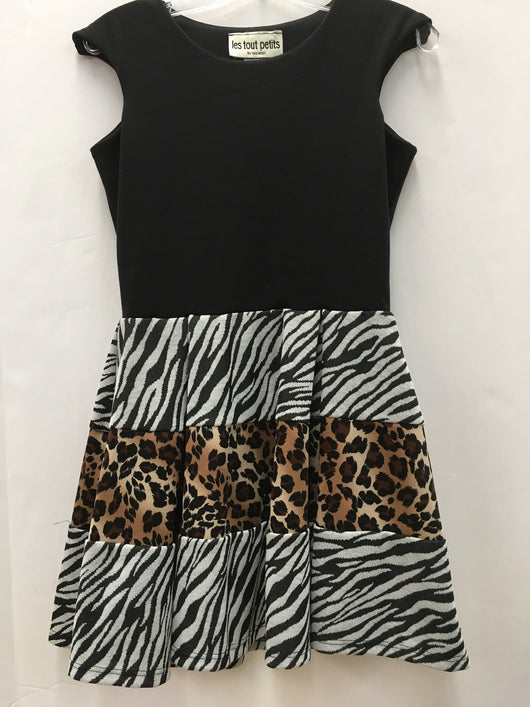 Black Split Zebra/Jungle Adrianna Dress
