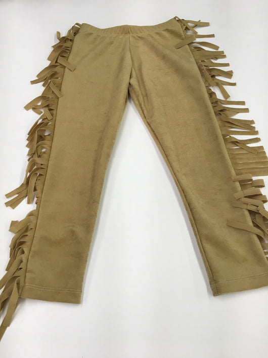Camel Faux Stretch Suede Fringe Legging