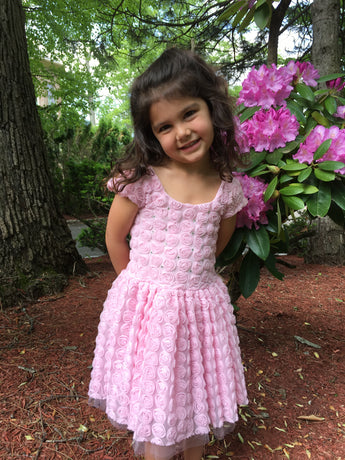 PINK ROSE SHORT SLEEVE VALENTINA PARTY DRESS