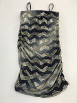 Navy Metallic Zig Zag Rusched Dress