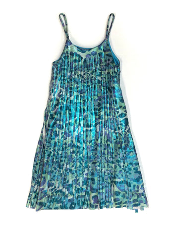 Turquoise Cougar Cut Fringe Dress