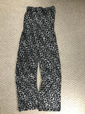 STRAPLESS JUMPSUIT BLACK/GRAY CHEETAH