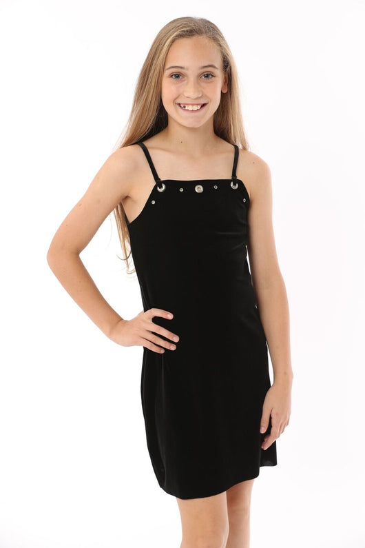 Velvet Black Grommet Slip Dress