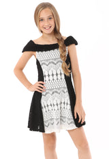 B/W Off-Shoulder Crochet Dress