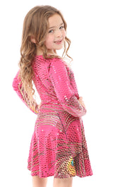 Long Sleeve Pink Peacock Skater Dress