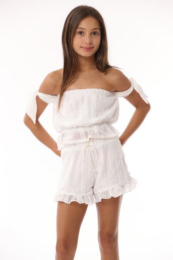 White Lace Column Candy Crop/Ties
