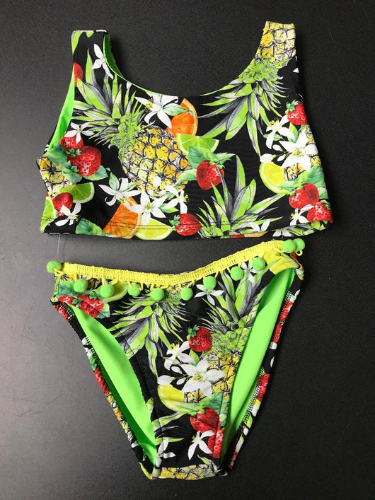 TROPICAL PUNCH CROP JET SET SUIT /POM POMS