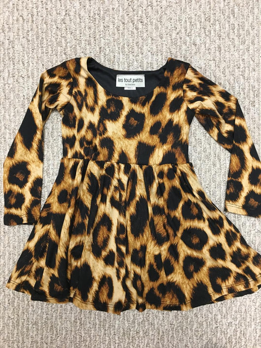 LEOPARD L/S SWING DRESS
