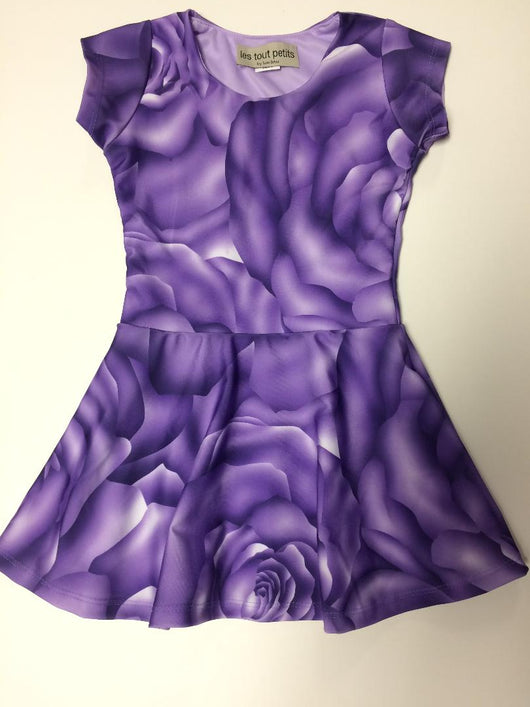Purple Rose Short Sleeve Skater Dress