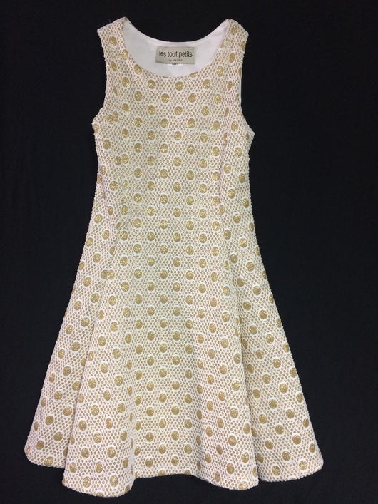 Gold Dot Fit/Flare Dress