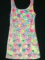 Neon Embroidered White Ribbon Tank Dress