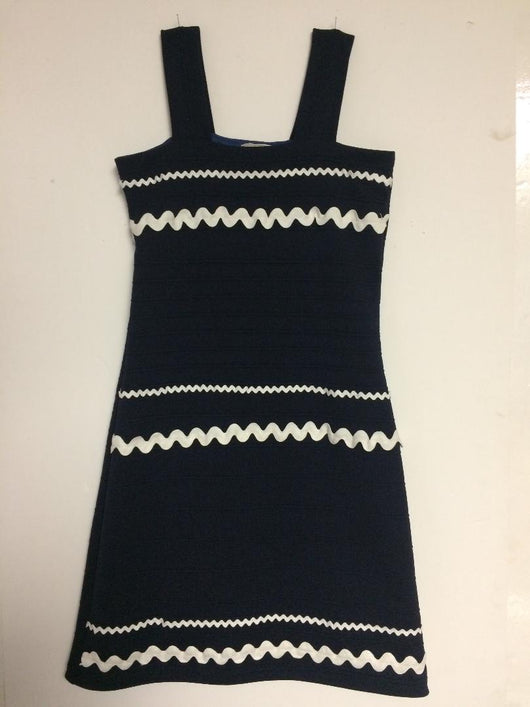 Navy Texture Bandage Dress Zig Zag Trim