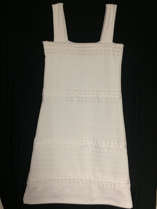 White Texture Stripe Bandage Lace Trim Dress