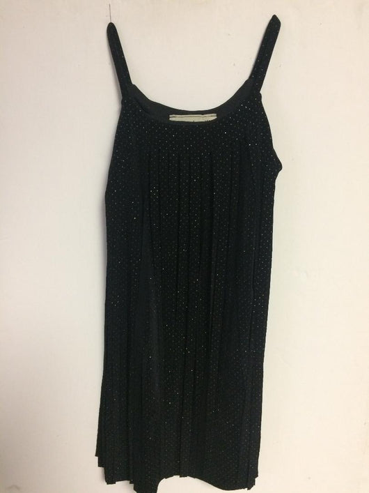 BLACK SPARKLE CUT FRINGE DRESS
