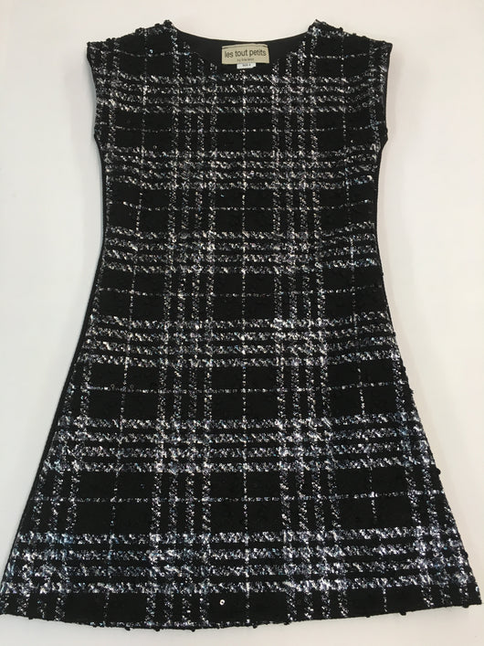 Black Plaid/Black Fall Sheath Dress