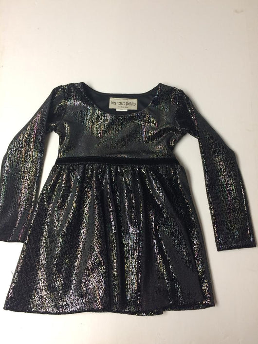 BLACK SPARKLE L/S SWING DRESS VELVET TRIM