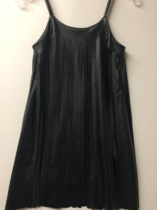 BLACK VEGAN LEATHER LAZER PIN DOT CUT FRINGE DRESS