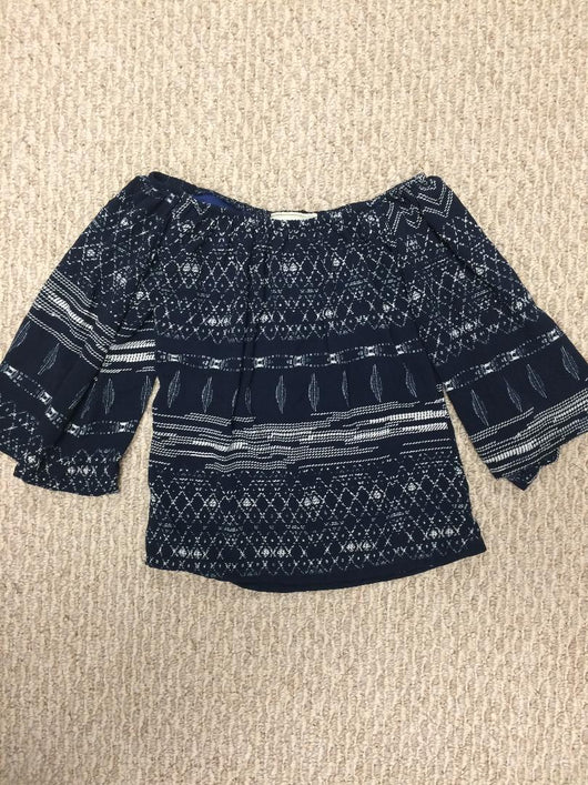 NAVAJO NAVY ON OFF THE SHOULDER TOP