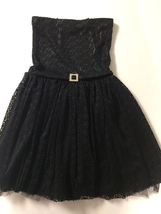 Black Circle Crochet Party Dress
