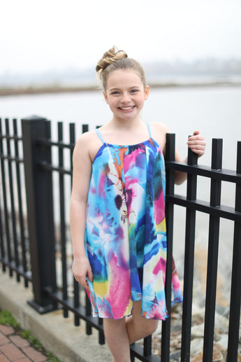 Marine Abstract Floral Trapeze Dress