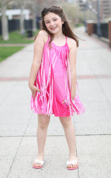 Pink Studded Cut Fringe Dress