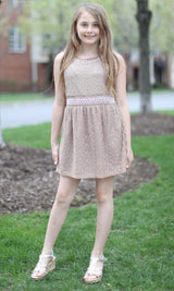 Taupe Lace Pearl Dress