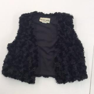 FUR SHORT VEST BLACK ROSE