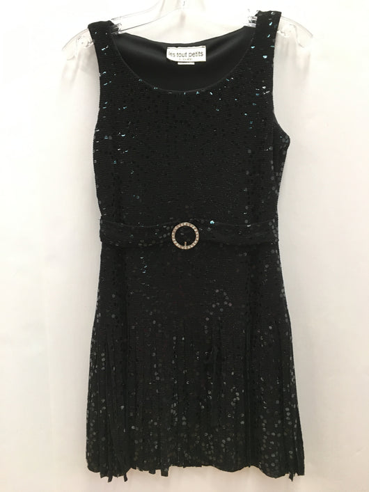 Black Sequin Belted Fringe Dress