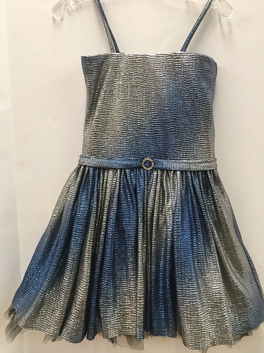 Blue/Silver Ombre Metallic Party Dress
