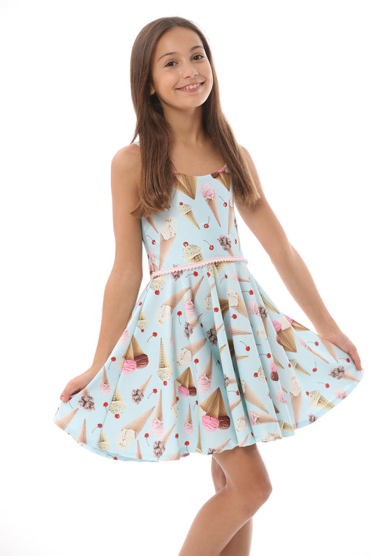ICE CREAM CONE SUN DRESS/NO POM POMS