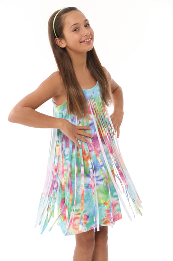 SPARKLE SUNBURSTCUT FRINGE DRESS