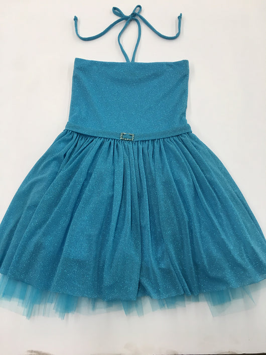 Turquoise Glitter Party Dress