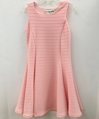 Pink Sleeveless Stripe Fit/Flare Dress