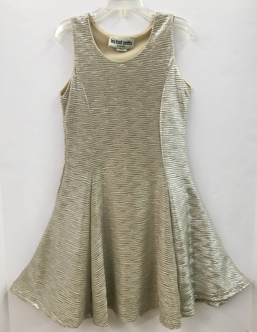 Champagne Pleated Sleeveless Fit/Flare Dress