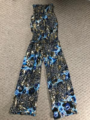 SMOCKED JUMPSUIT BLUE BRUSH LEOPARD