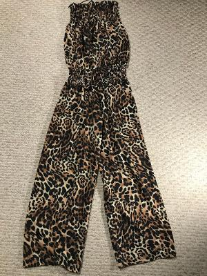 SMOCKED JUMPSUIT LEOPARD