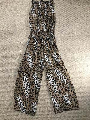 SMOCKED JUMPSUIT SNOW LEOPARD