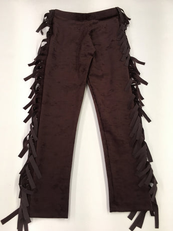 Wine Faux Stretch Suede Fringe Legging
